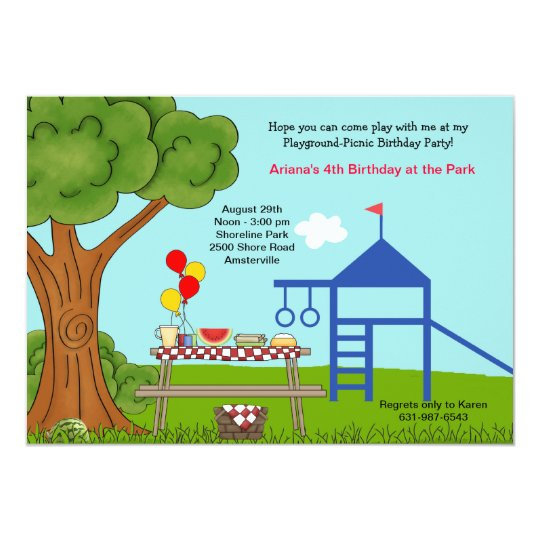 playground picnic birthday party invitation zazzle com