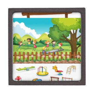 Playground scene with children and toys premium jewelry box