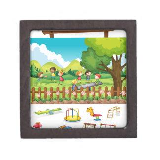 Playground scene with children and toys premium trinket boxes