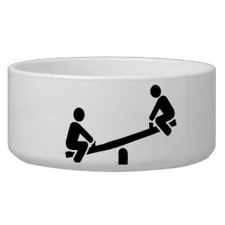 Playground seesaw pet bowl
