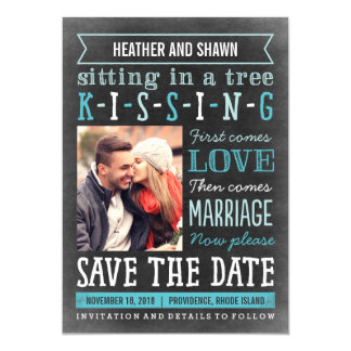 "Playground Song Save The Date Card - Turquoise 5"" X 7"" Invitation Card"