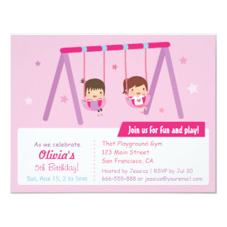 Playground Swing Girls Birthday Party Invitations