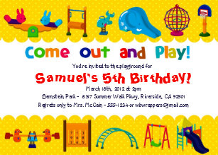 Playground birthday invitations announcements zazzle playground themed birthday party invitations filmwisefo Gallery