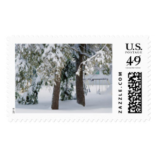 Playground under snow postage stamps