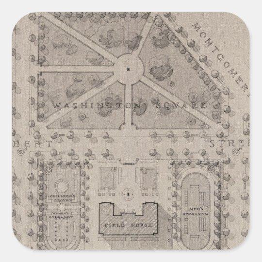 Playground, Washington Square, San Francisco Square Sticker