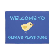 Playhouse Welcome with bird and custom name Doormat
