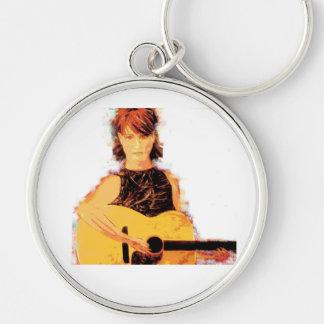 playin del chica de la guitarra llavero redondo plateado