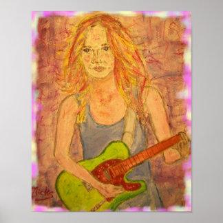 playin popular del chica de la roca eléctrico póster