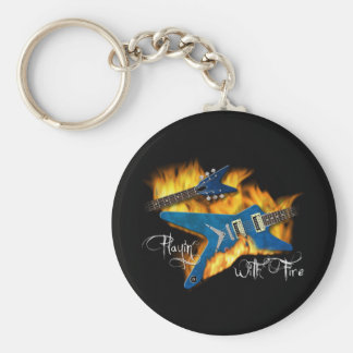Playin with Fire Guitar Keychain