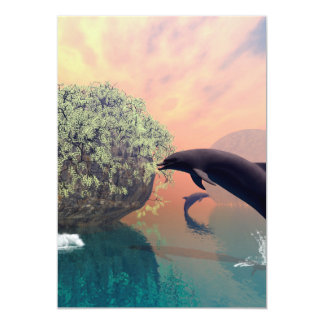 Playing and jumping dolphin in a fantasy landscape 5x7 paper invitation card
