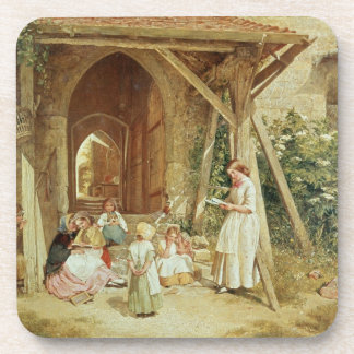Playing at Schools, 1857 (oil on panel) Coaster
