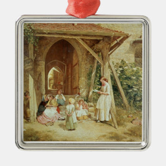 Playing at Schools, 1857 (oil on panel) Metal Ornament