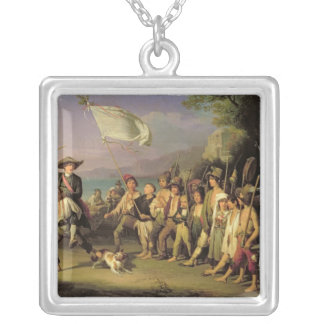 Playing at Soldiers, Roman Revolution 1848 Square Pendant Necklace