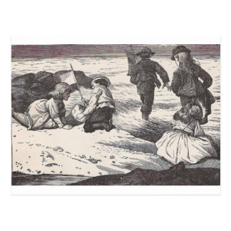 Playing At The Beach Postcard