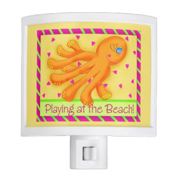 Beach Themed Playing at the Beach Whimsy Octopus Yellow Orange Night Light