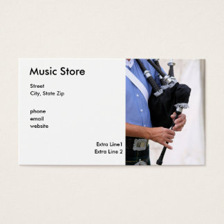 playing bagpipe, Music Store, Street, City, Sta... Business Card