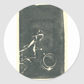 Playing Ball - Riding in the Rain Classic Round Sticker