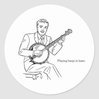 Playing Banjo Is Keen Round Sticker