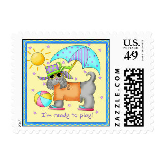 Playing Beach Dog with Umbrella Flipflops and Ball Postage Stamp