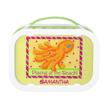 Beach Themed Playing Beach Octopus Yellow Name Personalized Lunch Box