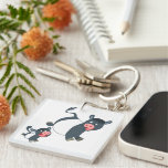 Playing Belted Galloway Cow & Calf Acrylic Keyring Double-Sided Square Acrylic Keychain