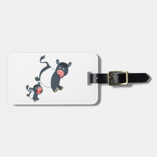 Playing Belted Galloway Cow & Calf Luggage Tag