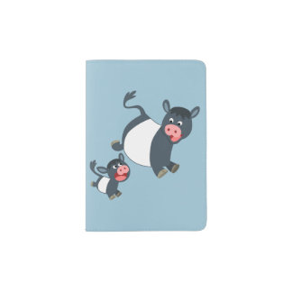 Playing Belted Galloway Cow & Calf Passport Cover