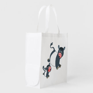 Playing Belted Galloway Cow & Calf Reusable Bag