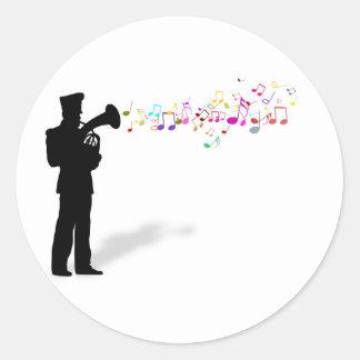 Playing Brass Instrument Classic Round Sticker