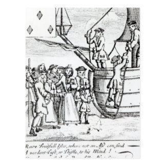 Playing card depicting immigrants arriving