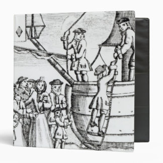 Playing card depicting immigrants arriving binder