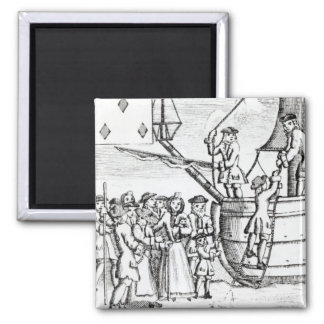 Playing card depicting immigrants arriving fridge magnet