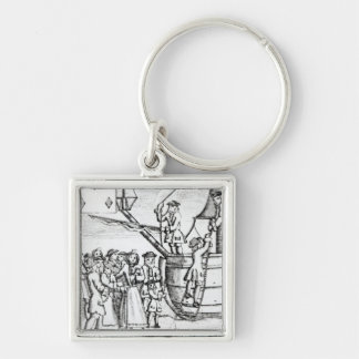 Playing card depicting immigrants arriving Silver-Colored square keychain