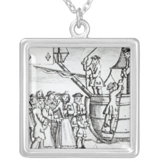 Playing card depicting immigrants arriving silver plated necklace