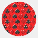 Playing Card Figure Pattern Design Round Sticker