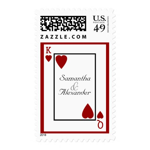 Playing Card King and Queen Wedding Stamp