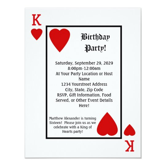 Playing Card King Hearts Birthday Party Invitation – Playing Card Party Invitations