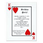 Playing Card King Hearts Birthday Party Invitation