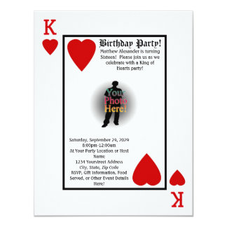 Playing Card King Photo Birthday Party Invitation