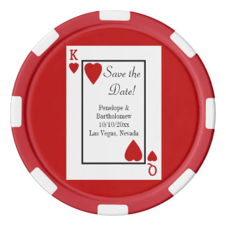 Playing Card King/Queen Save the Date Favor Set Of Poker Chips
