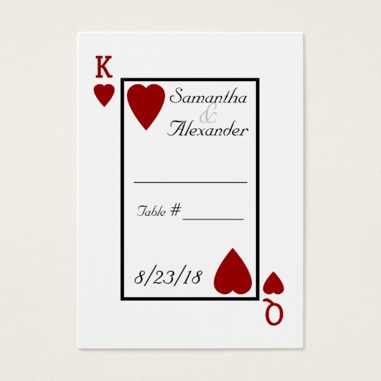 Playing Card King Queen Table Place Cards Zazzle