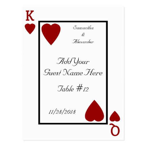 Playing Card King/Queen Table Place Cards Postcard