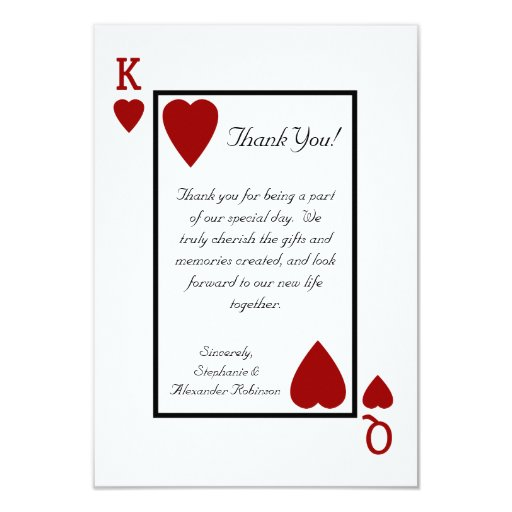 Playing Card King/Queen Thank You Notes