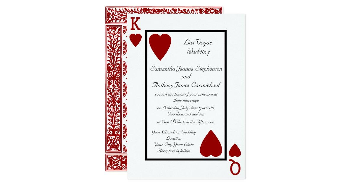 Playing Card KingQueen Wedding Invitations – Playing Card Invitation