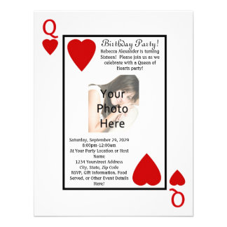 Playing Card Queen Photo Birthday Party Invitation
