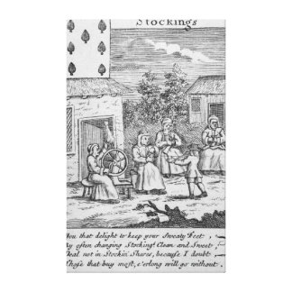 Playing Card showing workers making stockings Canvas Print