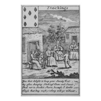 Playing Card showing workers making stockings Poster