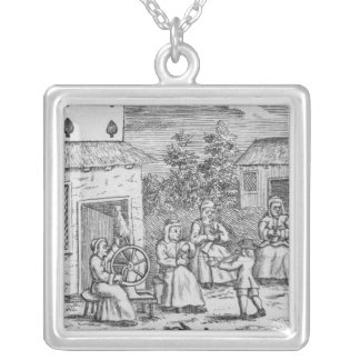 Playing Card showing workers making stockings Silver Plated Necklace