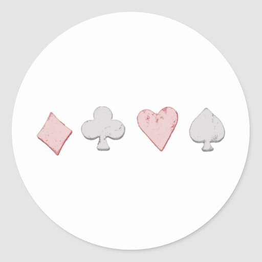 Playing Card Suit Row Round Stickers