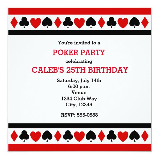 Playing Card Suites Casino Poker Party Invitations Zazzle Com